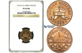 S20, German East Africa (DOA) Wilhelm II, 1 Heller 1913-A, Berlin, NGC PF65RD (Pop 1/1, Finest, First to be graded as a Proof) Very Rare!