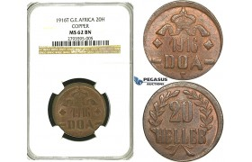S22, German East Africa (DOA) 20 Heller 1916-T, Tabora, Copper, NGC MS62BN