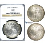 S24, Great Britain, Trade Dollar 1929-B, Bombay, Silver, NGC MS64