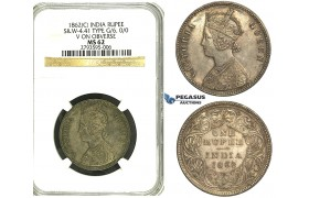 S25, India (British) Victoria, Rupee 1862 (C) Calcutta, Silver, S&W 4.41, Type G/6, NGC MS62 (Pop 1/1, Finest!)