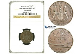 S26, East India Company, Madras Presidency, 5 Cash 1803, NGC PF64BN