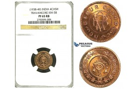 S27, India, Travancore, 4 Cash ND (1938-49) KM 58, NGC PF65RB (Pop 1/1, Finest!)