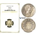 S28, Italy, Umberto I, 50 Centesimi 1892-R, Rome, Silver, NGC MS62 (Full mirror fields) Rare!