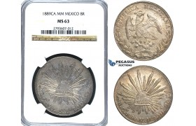 S30, Mexico, 8 Reales 1889 Ca MM, Chihuahua, Silver, NGC MS63 (Fine toning!)