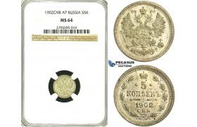 S40, Russia, Nicholas II, 5 Kopeks 1902 СПБ-AP, St. Petersburg, Silver, NGC MS64