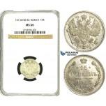 S45, Russia, Nicholas II, 15 Kopeks 1913 СПБ-BC, St. Petersburg, Silver, NGC MS66