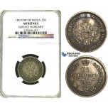S49, Russia, Alexander II, 25 Kopeks 1857 СПБ-ФБ, St. Petersburg, Silver, NGC AU