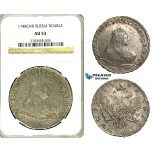 S51, Russia, Elisabeth, Rouble 1748 СПБ, St. Petersburg, Silver, NGC AU53