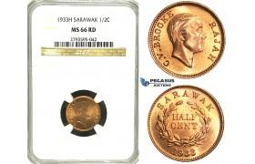S52, Sarawak, C.V. Brooke, Rajah, ½ Cent 1933-H, Heaton, NGC MS66RD