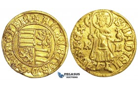 S61, Hungary, Albert (1437-39) Goldgulden ND (1438) K-L, Kremnitz, Gold (3.49g) Minor edge damages, Rare!