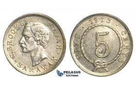 S63, Sarawak, C. Brooke Rajah, 5 Cents 1913-H, Heaton, Silver, High Grade (Lightly cleaned)