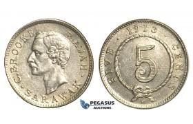 S63, Sarawak, C. Brooke Rajah, 5 Cents 1913-H, Heaton, Silver, High Grade (Lightly cleaned)