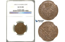 R374, Danish West Indies, Christian IX, 1 Cent (5 Bit) 1905, Copenhagen, NGC AU55BN