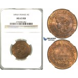 S85, France, Third Republic, 5 Centimes 1894-A, Paris, NGC MS65RB