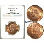 S88, France, Napoleon III, 10 Centimes 1853-B, Rouen, NGC MS66RD (Pop 1/2, No Finer!)