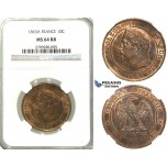 S89, France, Napoleon III, 10 Centimes 1863-A, Paris, NGC MS64RB