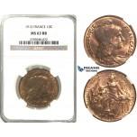 R376, France, Third Republic, 10 Centimes 1912, Paris, NGC MS63RB