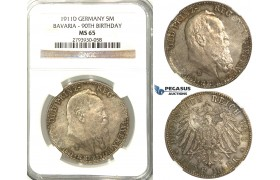S94, Germany, Bavaria, Prince Leopold, 90th Birthday 5 Mark 1911-D, Munich, Silver, NGC MS65 (Prooflike fields)