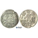 T15, Poland (for Lithuania) Sigismund III, 3 Groschen (Trojak) 1590, Vilnius, Silver (1.89g)