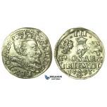 T206, Poland (for Lithuania) Sigismund III, 3 Groschen (Trojak) 1593, Vilnius, Silver (2.32g) High Grade!