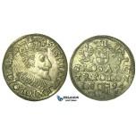 T208, Poland, Sigismund III, 3 Groschen (Trojak) 1594 I/F, Olkusz, Silver (2.32g) High Grade!