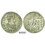 T209, Poland, Sigismund III, 3 Groschen (Trojak) 1595 I/F, Wschowa (Fraustadt) Silver (2.42g)