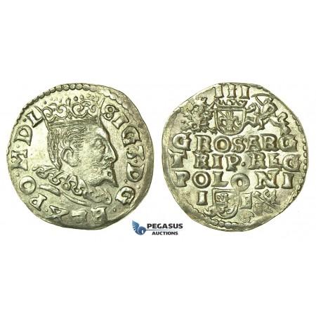 T212, Poland, Sigismund III, 3 Groschen (Trojak) 1596 I/F, Lublin, Silver (2.43g)