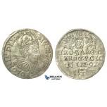 T26, Poland, Sigismund III, 3 Groschen (Trojak) 1592 I/F, Olkusz, Silver (2.32g)
