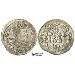 T50, Poland, Sigismund III, 3 Groschen (Trojak) 1595 I/F, Lublin, Silver (2.31g) High Grade!