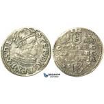 T88, Poland, Stefan Bathory, 3 Groschen (Trojak) 1585, Poznan (Posen) Silver (2.15g)
