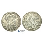 T91, Poland (for Riga) Stefan Bathory, 3 Groschen (Trojak) 1585, Riga, Silver (2.24g) High Grade!