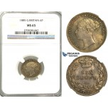 U04, Great Britain, Victoria, Sixpence 1885, Silver, NGC MS65 (Rainbow toning)