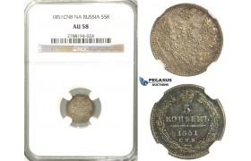 U11, Russia, Nicholas I, 5 Kopeks 1851 СПБ-ПД, St. Petersburg, Silver, NGC AU58