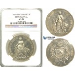 R381, Switzerland, Bern Festival 5 Francs 1885 Shooting Taler, Silver, NGC MS61