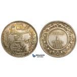 U20, Tunisia, 1 Franc 1916-A, Paris, Silver, Toned UNC (Light scratches)