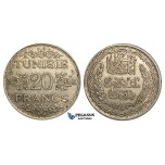 U22, Tunisia, Ahmad Pasha Bey, 20 Francs AH1353 (1934) Paris, Silver, Nice!