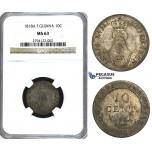U32, French Guyana, Louis XVIII, 10 Centimes 1818-A, Silver, NGC MS63