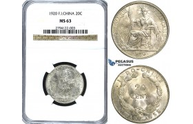 U34, French Indo-China, 20 Centimes 1920, San Francisco, Silver, NGC MS63