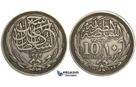 U36, Egypt, Hussein Kamil, 10 Piastres AH1335 (1917) Silver, Nice!