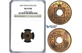 U38, Hong Kong, Victoria, Mil 1863, NGC MS65RB
