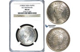 U39, India (British) George VI, Rupee 1938 (B) Bombay (No Mintmark) Silver, NGC MS64