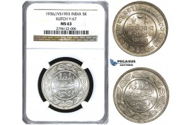 U41, India, Kutch, 5 Kori VS1993 (1936) Silver, NGC MS63