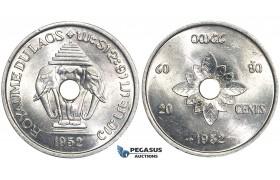 U43, Laos, Sisavang Vong, 20 Cents 1952, aUNC