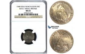 U49, New Caledonia (French Colony) ESSAI 50 Centimes 1948, Paris, NGC MS65 KM-E1