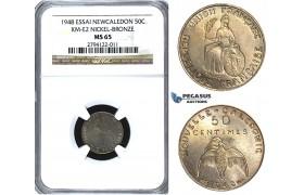 U50, New Caledonia (French Colony) ESSAI 50 Centimes 1948, Paris, NGC MS65 KM-E2