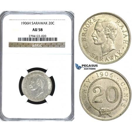 U61, Sarawak, C. Brooke Rajah, 20 Cents 1906-H, Heaton, Silver, NGC AU58 (Pop 1/1, Finest!) Rare!