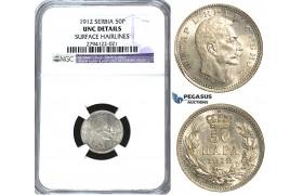 U62, Serbia, Petar I, 50 Para 1912, Vienna, Silver, NGC UNC Det.