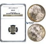 U63, South Africa (ZAR) Threepence (3 Pence) 1892, Silver, NGC MS65 (Pop 1/3) Very Rare Grade!