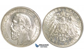 "U71, Germany, Baden, Friedrich Grand Duke, 2 Mark 1901-G, Karlsruhe, Silver, ""White"" UNC (vz/St.) Rare!"