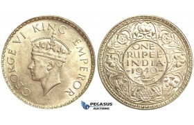U76, India (British) George VI, Rupee 1940-B, Bombay, Mint State (Light hairlines)